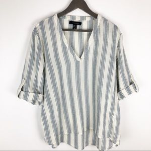 Atmosphere White Blue Striped Tunic Top Size 14